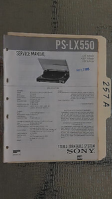 Sony ps-lx550 service manual original repair book stereo turntable record player