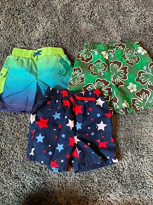 e50358dcbfa76 LOT OF 3 Boys 12-18 Month Baby Swim Trunks BOARD SHORTS SWIM SHORTS ...