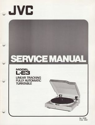 Service Manual JVC L-E3 turntable record player Repair book foldout schematic