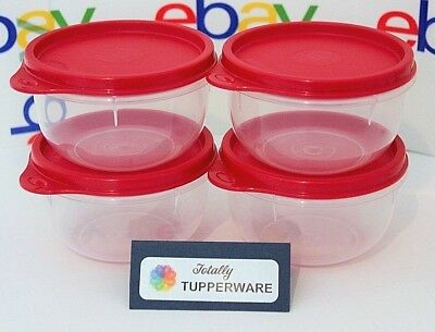 Tupperware Bowls Set of 4 Little Ideal 8 oz. Snack Cups Lil' Red