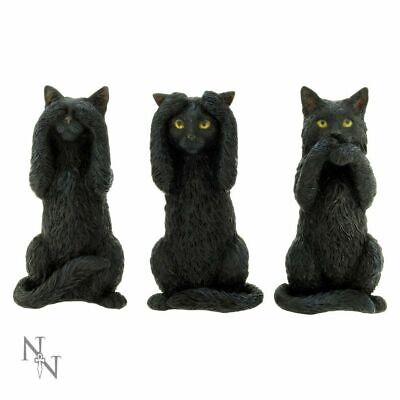 Three Wise Cats Figurines See No Speak No Hear No Evil Black Cat Ornaments
