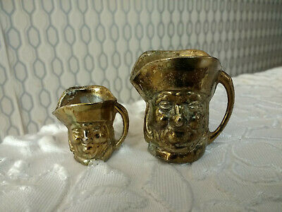 Vintage Pair of Small Mini Old Brass Jugs
