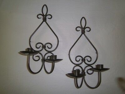 Pair Metal Fleur De Lis Wall Sconces|Candle Holders PartyLite dark bronze color