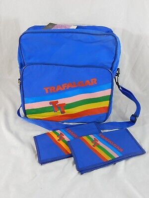 d4d545cb9c096d Retro Vtg 80's Trafalgar TT Airline Messenger Travel Overnight Bag w/2  Wallets