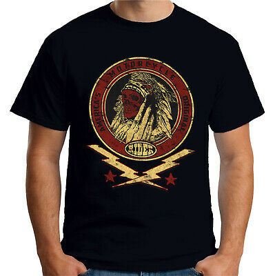 Velocitee Mens T-Shirt Native Indian America's Motorcycle Biker Skull A17779