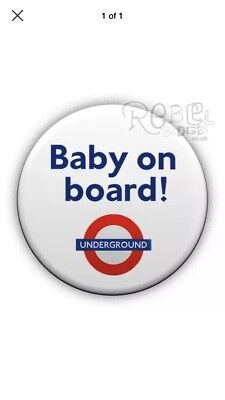 London Underground Pregnant Mum Baby On Board 25mm / 1 Inch Pin Button Badge