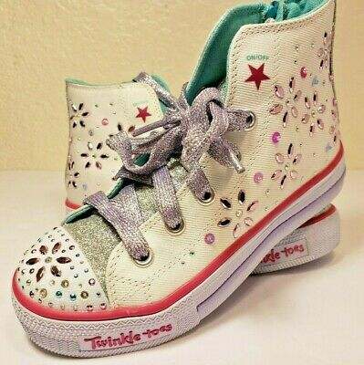 a2024bdc21b4 SKECHERS TWINKLE TOES sparkly and sweet Girls  Light Up High Top Shoe Size  13 -  35.00