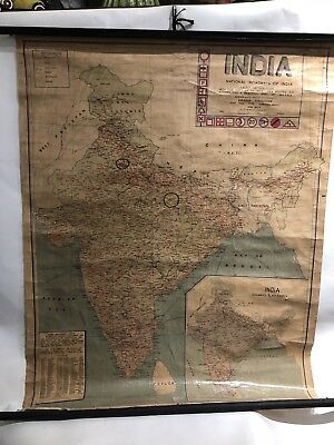 """Vintage 1960 Scroll Road Map Of India Educational Supply Co. Delhi India 33""""X43"""""""