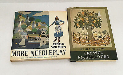 vintage  two craft books by  Erica Wilson crewel embroidery and more needleplay
