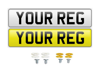 Pair White Yellow Show Custom Number Plates NOT Road/MOT Legal Compliant Car