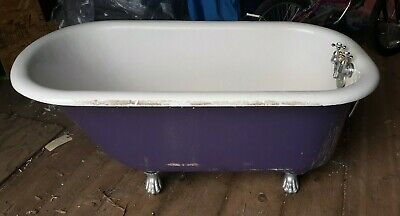 Antique 1920's L. WOLFF MFG CO. Cast Iron & Porcelain 4' Claw Foot Bath Tub