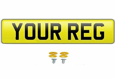 Single Yellow Show Custom Number Plates NOT Road/MOT Legal Compliant Car