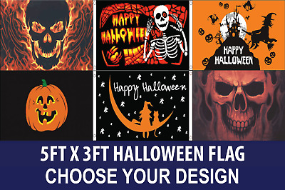 HALLOWEEN Flag 100d Polyester PREMIUM Quality CHOICE of Design FREE UK Delivery