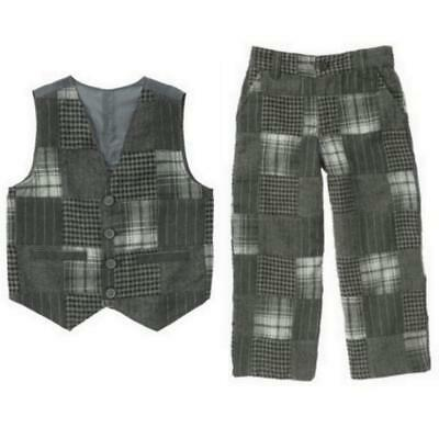 NWT M 7-8 Years Gymboree FESTIVE HOLIDAY Gray Patchwork Flannel Dressy Vest