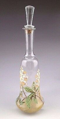 Antique Art Nouveau French Hand Painted Glass Bottle with Stopper