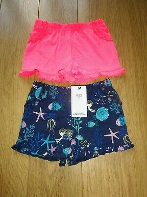 2 Pairs Marks & Spencer Girl's Shorts Bright Pink & Navy Mix Age 3-4 Years