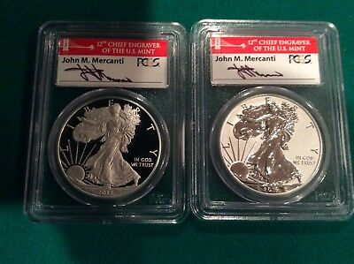 2012-S Silver Eagle 75th Anniversary Set First Strike PCGS 70DCAM Mercanti