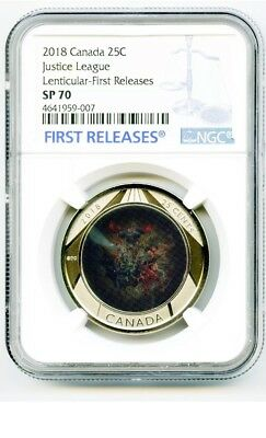 2018 Canada Justice League Ngc Sp70 First Releases Lenticular 3D Quarter Rare