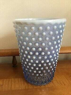 Fenton Light Blue Opalescent Hobnail Tall Cylinder Vase