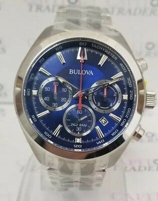 Bulova 96B285 Men's 44mm Quartz Chrono Blue Dial Silver-Tone 44mm Watch **NWT**