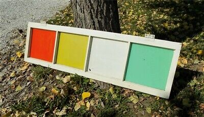 Old Wood Transom Window Glass Vintage Architectural Salvage Catholic Church a23