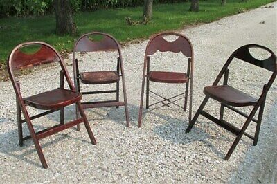 Set of 4 Wood Folding Chairs Church Funeral Home Wedding Concert Patio Picnic a5