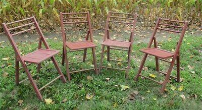 Set of 4 Wood Folding Chairs Church Funeral Wedding Concert Patio Picnic a27