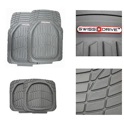 Car + Premium Deep Dish PVC Heavy Duty Floor Mats All Weather (GRAY 4 Pieces)
