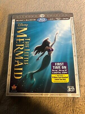 The Little Mermaid 3D (Blu-ray/DVD, 2013, 3-Disc Diamond Edition Disney No Code