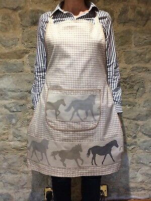 Ladies country style full apron Beige Gingham Horse Equestrian Trim Handmade