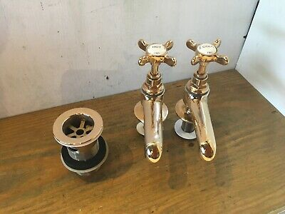 Bristan Brass Basin Taps And Waste -Quality New Washers And Ready To Fit T90