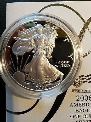 2006 1 Oz. Silver American Eagle  O.m.p.  Proof With Cert. And Boxes