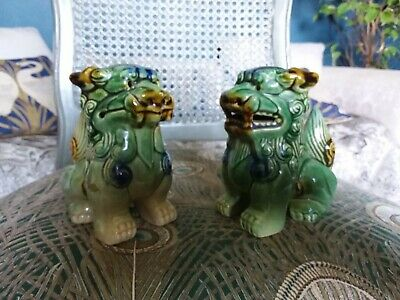 VINTAGE CHINESE CERAMIC GLAZED FOO FU DOGS green blue gold PROTECTORS GUARDIANS