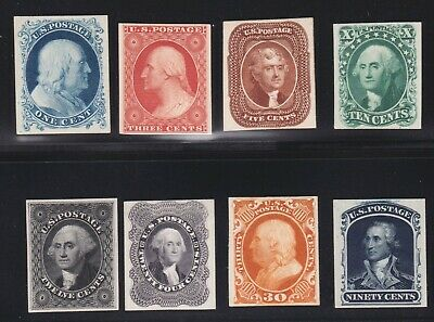US 40P4-47P4 1857-1860 Issue Proofs on Card VF-XF SCV $580 (002)
