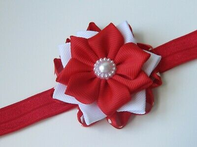 Baby girl Headband Elastic Hair band flower Bow Hair Accessories wedding red