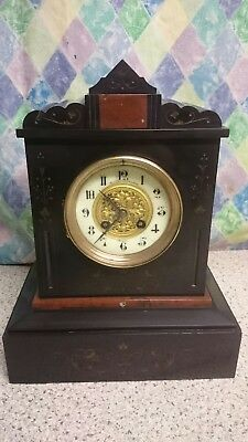 French, Paris, Japy Freres Black Slate 8 Striking 8 Day Mantel Clock G.w.o