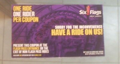 SIX FLAGS GREAT AMERICA FRIGHT FEST Individual single Flash Fast Pass 2019