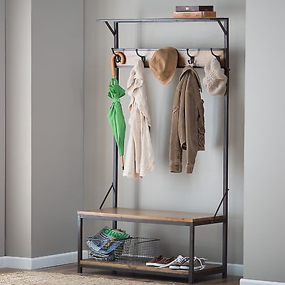 Wondrous Wood Metal Entryway Hall Tree Coat Rack Stand Home Furniture Dailytribune Chair Design For Home Dailytribuneorg