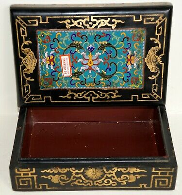 Old Item ~ National China ~Hardwood~ High Karat Gold ~ Antique Cloisonné Top Box