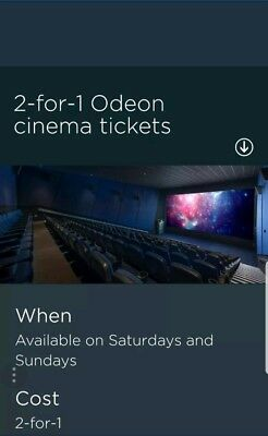 Odeon Cinema 2 For 1 Online Code, Saturday 30, Sunday 31and Monday 01/04/19