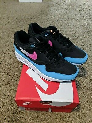 NIKE AIR MAX 1 Size 8.5 BlackLaser FuschiaBlue Miami Nights CI2450001 NEW