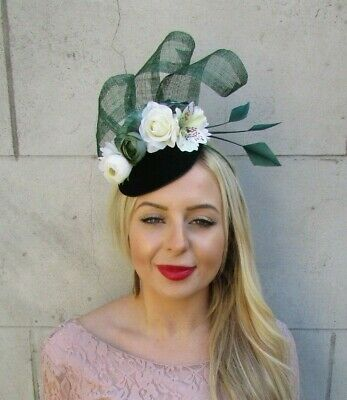 Bottle Dark Green Ivory Cream Floral Flower Feather Hat Fascinator Races 7147