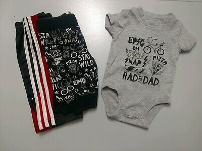 Carter's Adidas Bodysuit and 2 Pairs of Pants 3 Months Set Lot EUC Rad Like Dad