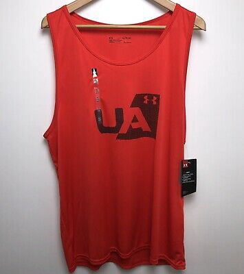Polyester UA Tank Top Shirt #1305704 NWT MEN/'S Sz S Under Armour RED Cotton