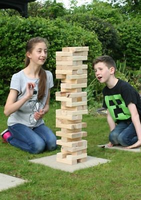 Giant Jenga Stacking Tumble Tower Garden Game 1.5m 58 Wooden Blocks w/Carry Bag