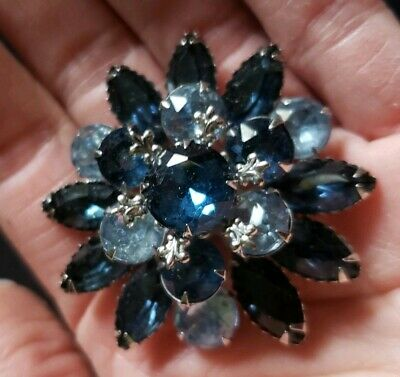 Vintage Silver Prong Set Stacked Blue rhinestone Marquise Round Pin Brooch