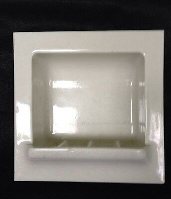 Vintage recessed white pocelain ceramic bathroom soap dish