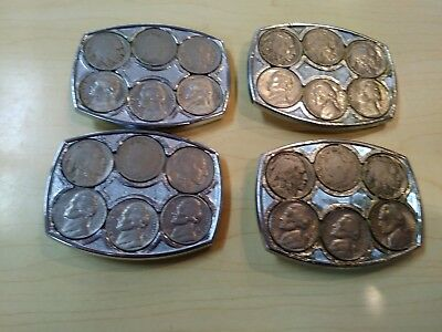 Hand Made  Indian Nickle Western Belt Buckle QTY OF 4