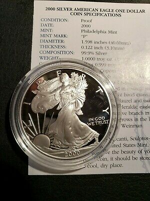 2000 1 Oz. Silver American Eagle  O.m.p.  Proof With Cert. And Boxes
