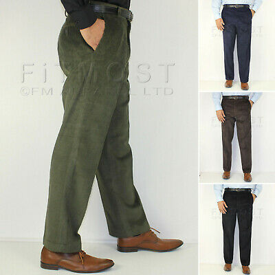 Mens Corduroy Cord Trousers Formal Belted Pants Smart Casual Cotton Trousers